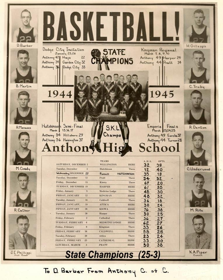 Anthony Pirates 1945 State Champions 2